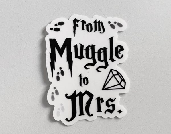from Muggle to Mrs - clear vinyl sticker
