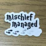 "Harry Potter inspired ""Mischief Managed"" clear vinyl sticker"