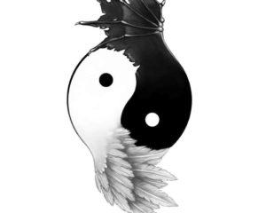 yin yang angel demon wings temporary tattoo
