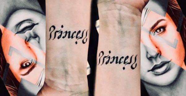 Princess Ambigram temporary tattoo
